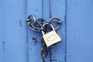 padlock, blue door
