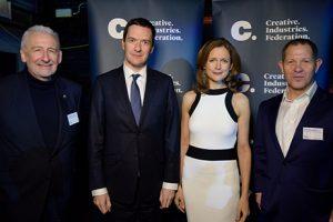 Sir John Sorrell, Chancellor George Osborne, Katie Derham and John Kampfner